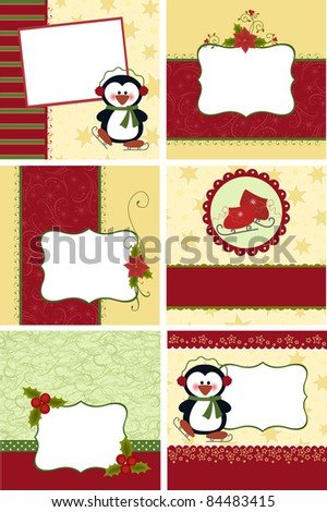 Cute collection of kids christmas postcards - stock vector