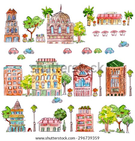cute collection of vintage house with trees. watercolor painting. vector illustration - stock vector