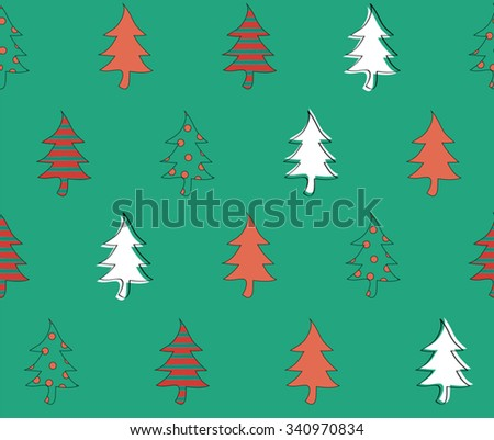 Cute Color Christmas Tree On Green Background Design Seamless Pattern Backdrop Wallpaper Vector Art