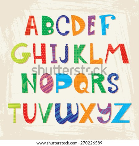 cute colorful alphabet. vector illustration