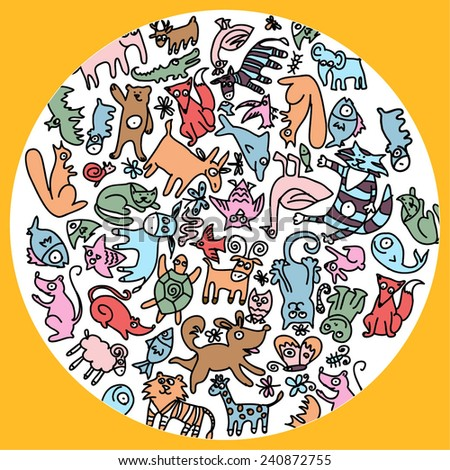 Cute colorful animals pattern with fox, owl, dog, cat, mouse, elephant, frog, bear, fish, tortoise, hippo, lion, sheep, cow and others. - stock vector