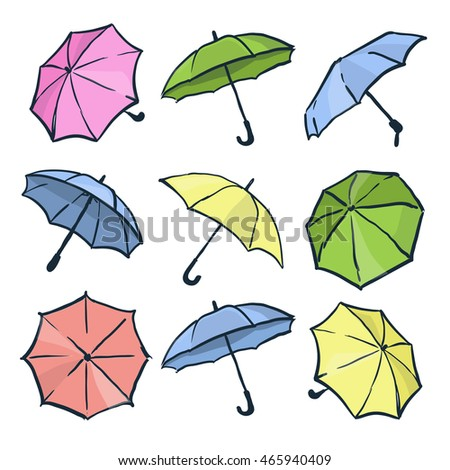 Cute colorful autumn set of umbrellas. Different hand drawn vector umbrellas on the white background. Collection for design.