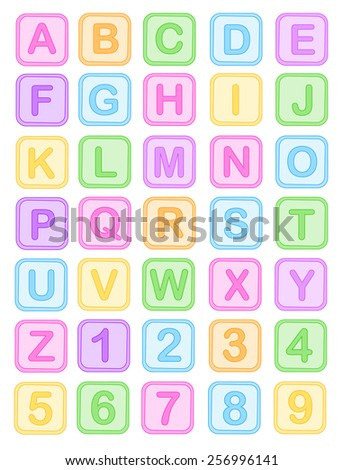 Cute colorful baby blocks English alphabet and numbers collection isolated on white background - stock vector