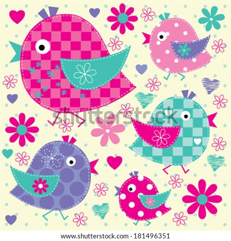 cute colorful birds vector illustration - stock vector