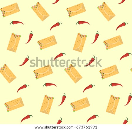 Cute Colorful Burrito And Red Chili Pepper Seamless Pattern Nice Mexican Fastfood For Textile
