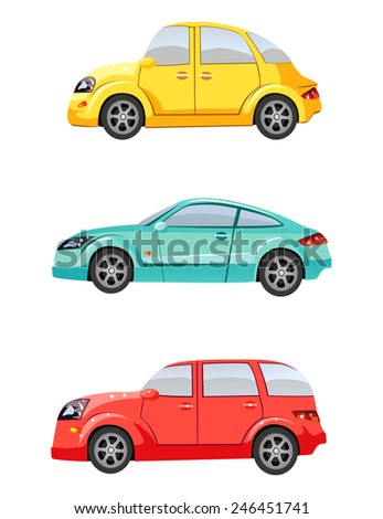 Cute colorful cars - stock vector