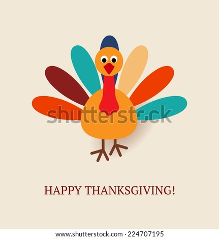 Cute colorful cartoon of turkey bird for Happy Thanksgiving celebration. Vector illustration. Can be use as greetings card, flyer, poster or banner. - stock vector
