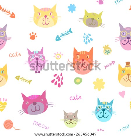 Cute colorful cats seamless pattern