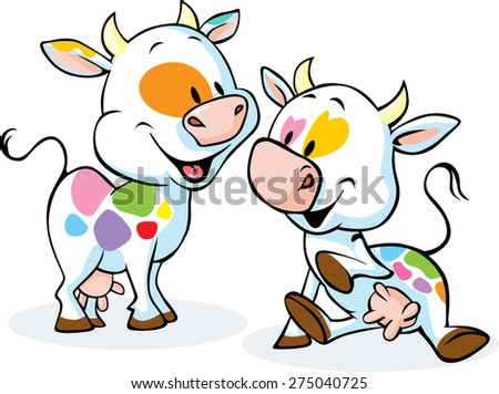 cute colorful cow isolated on white background - stock vector