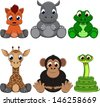Cute colorful exotic animals collection - stock