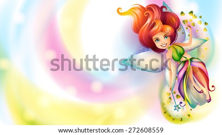 Cute colorful fairy character on a bright background - stock vector
