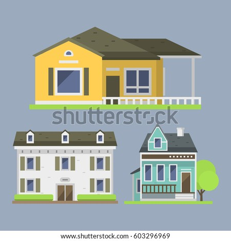 Colorful Home Exterior Design Collection Flat Stock Vector ...