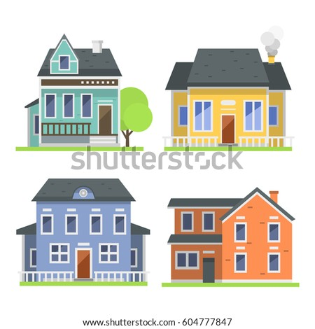 Cute Colorful Flat Style House Village Symbol Real Estate Cottage And Home  Design Residential Colorful Building