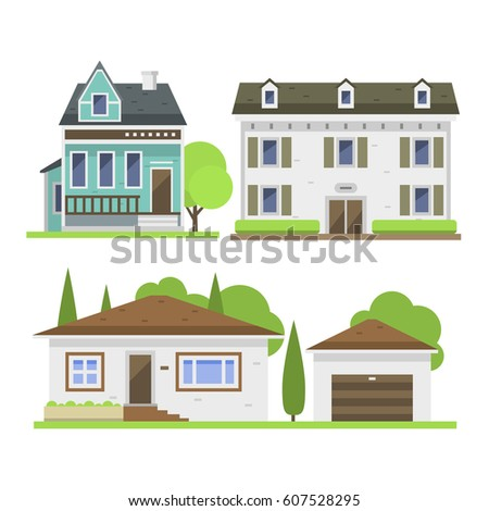 Cute Colorful Flat Style House Village Stock Vector 606177623 ...