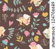 Cute colorful floral seamless pattern with hearts and cupid - stock vector