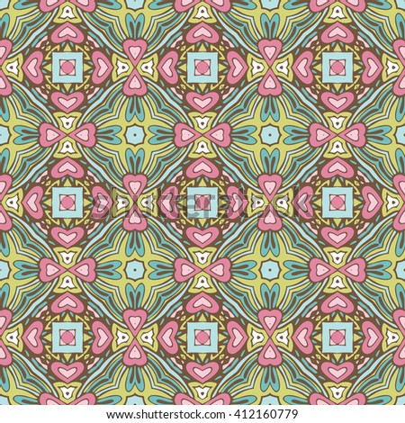 cute colorful floral vector  pattern vintage tiles