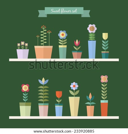 Cute colorful flowers in pots on shelves on green background. - stock vector