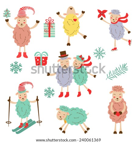 Cute colorful funny sheeps collection. vector illustration - stock vector