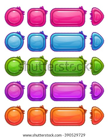 Cute colorful glossy girlie buttons set, funny vector ui elements for web or game design