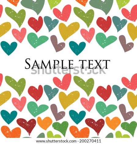 Cute colorful grunge hearts seamless pattern