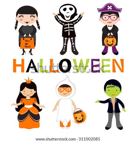 Cute colorful Halloween kids set. Vector illustration