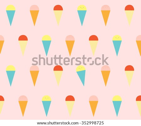 Cute colorful ice cream with cone on sweet pink background seamless pattern wallpaper. vector art, vector image, vector design, vector illustration. - stock vector