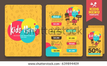 Cute colorful kids meal menu and discount voucher layout template .vector illustration.
