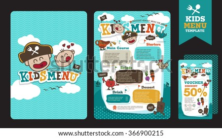 Cute colorful kids meal menu vector template with pirate cartoon - stock vector