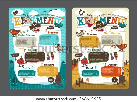 Cute colorful kids meal menu vector template with pirate cartoon and cowboy cartoon - stock vector