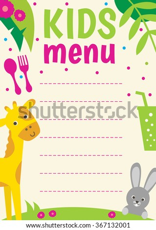Cute colorful Kids menu. Vector template with cartoon animals. - stock vector