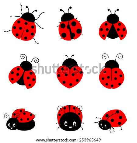 Cute colorful ladybugs clip art collection isolated on white background - stock vector
