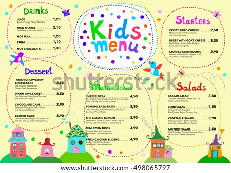 Cute Colorful Meal Kids Menu Template Stock Photo (Photo, Vector ...