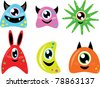 Cute colorful monsters - stock vector