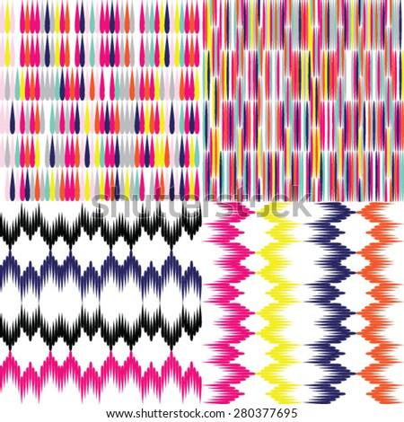 Cute colorful mosaic and drops seamless patterns - stock vector