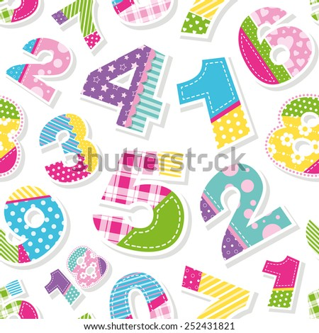 cute colorful numbers pattern - stock vector