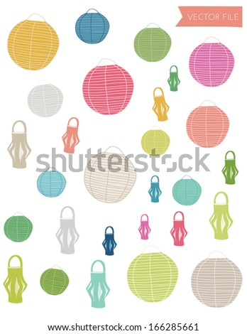 Cute Colorful Outdoor Paper Lanterns Vector