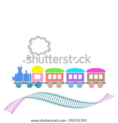 Cute colorful retro train with waved track isolated - stock vector