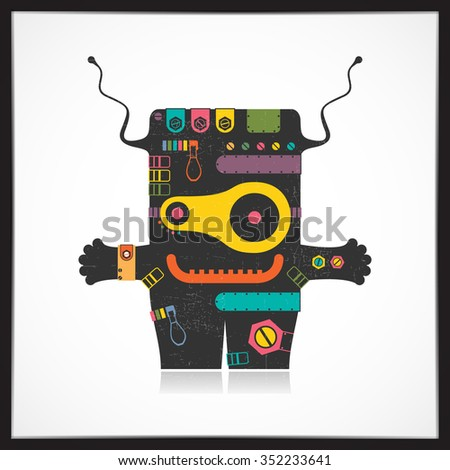 Cute colorful robot with grunge isolated on white. Cartoon illustration. vector - stock vector