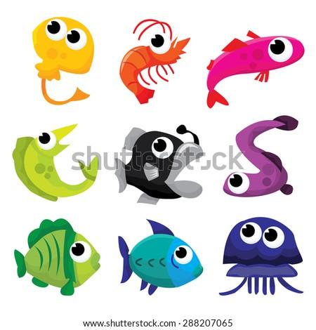 Cute colorful sea creatures vector stock illustration.. - stock vector