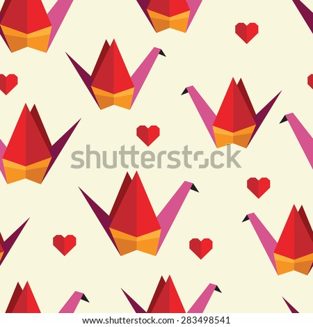 Cute colorful seamless pattern with origami ?rane. Can be used for desktop wallpaper or frame for a wall hanging or poster,for pattern fills, surface textures, web page backgrounds, textile and more. - stock vector