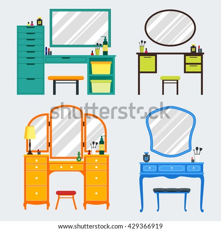 Cute colorful set of flat dressing tables with girl's things, mirror, perfume, lipstick, cosmetic. Isolated interior objects for dressing woman room. Furniture for feminine boudoir vector illustration