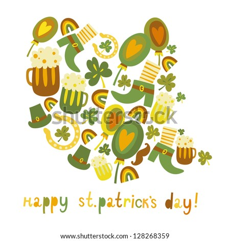 Cute colorful St.Patrick's day background - stock vector