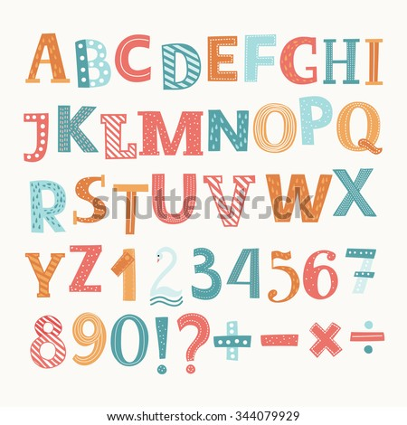 Cute colorful vector English alphabet and numbers. Division,addition, sign, minus sign - stock vector
