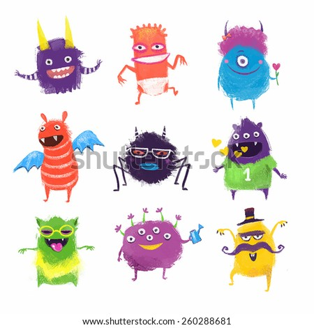 Cute colorful vector monsters. Set of different monsters in cartoon style.