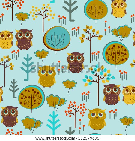 Cute colorful vector with owl and trees. Seamless pattern - stock vector