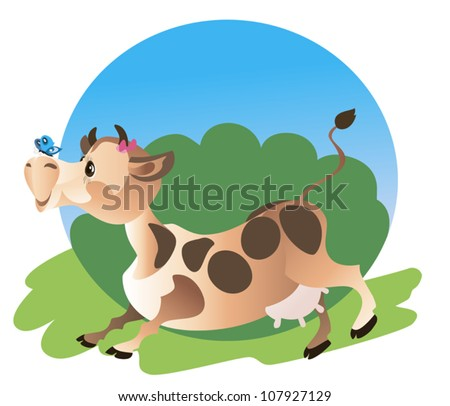 Cute comical cow is running on green meadow