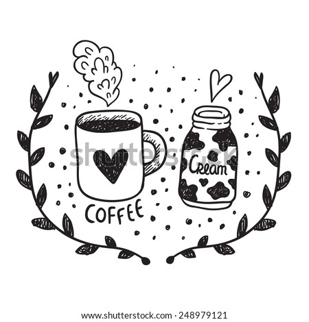 Cute concept for St Valentines day greeting postcard. Coffee and cream sketch illustration. - stock vector