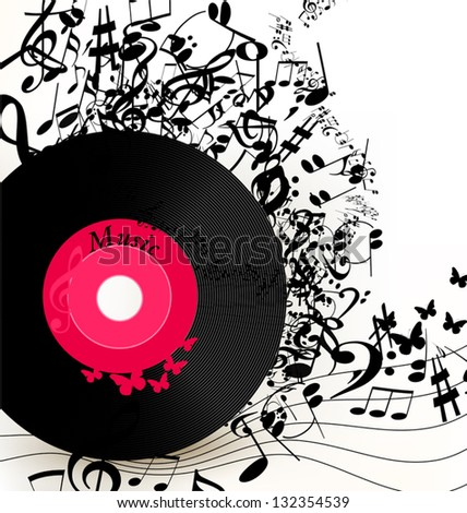 Cute conceptual music background with vinyl record for your design - stock vector