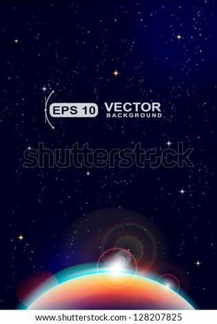 cute cosmic sky background - stock vector