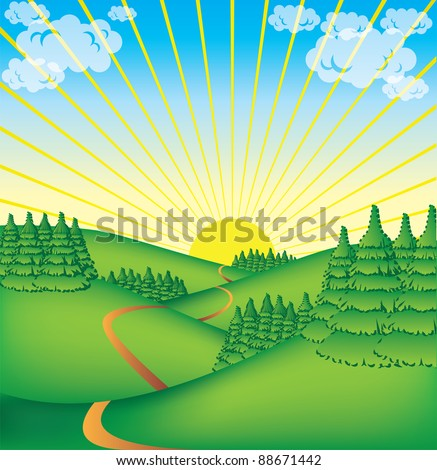 cute countryside illustration - stock vector